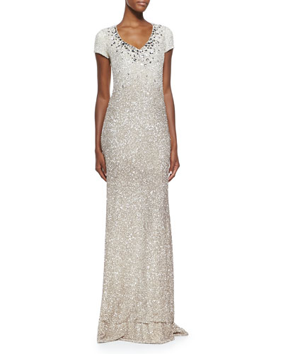 Cap-Sleeve Signature Sequin Gown