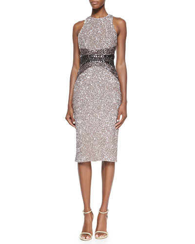Signature Sequin Ombre Sheath Dress
