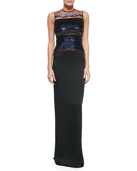 Pamella Roland Sleeveless Gown W/ Fish Scale Sequins
