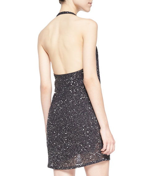 Sequined & Beaded Halter Cowl Dress