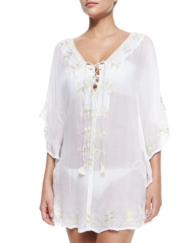 Premiere 3/4-Sleeve Embroidered Tunic, Cream