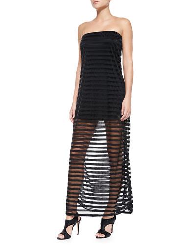 Strapless Banded Sheer-Skirt Dress
