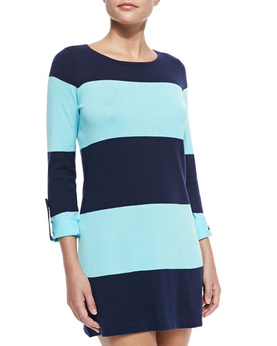 Bold-Striped Sweater W/ Rolled Sleeves, Mare/Swimming Pool
