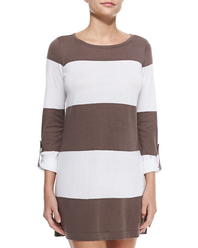 Bold-Striped Sweater W/ Rolled Sleeves, Taupe/White