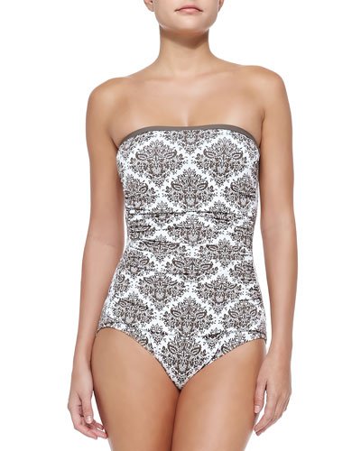 Printed Bandeau One-Piece Swimsuit W/ Shirring, White/Taupe