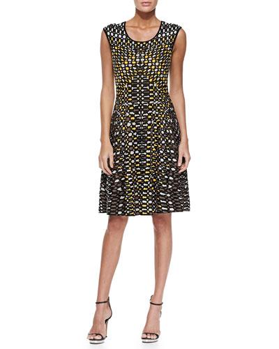 Textural Dots Twirl Dress, Petite