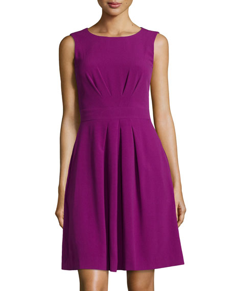 Pleated Fit-and-Flare Dress, Currant