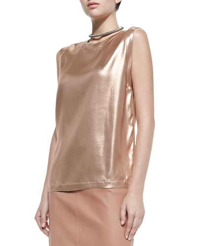 Lamé Scoop-Neck Tank, Copper