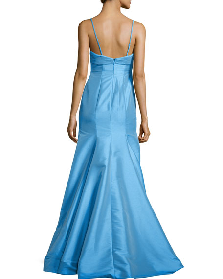 Iridescent Faille Mermaid Gown, Teal