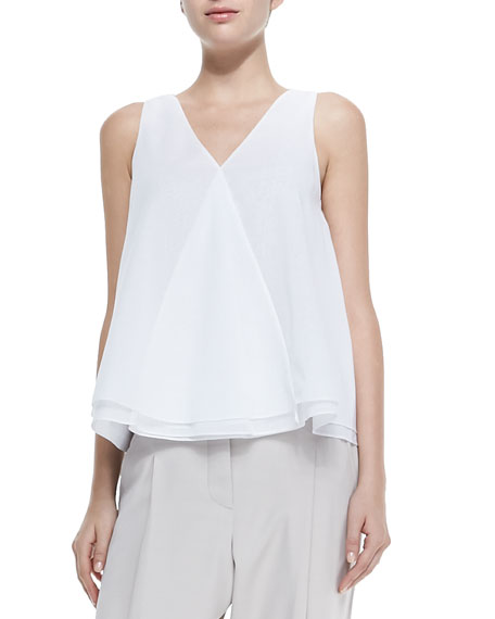 Brunello Cucinelli Sleeveless Layered-Hem V-Neck Top