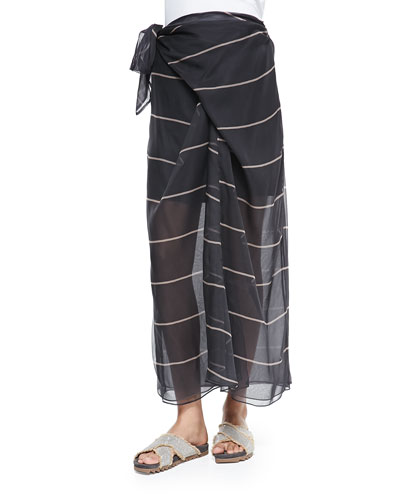 Striped Silk Sarong Skirt
