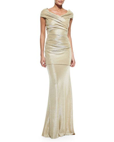 Cap-Sleeve Gown with Ruched Sides