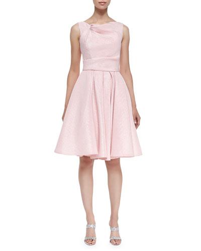 Gondy Glazed Check Drape-Front Pleated A-Line Dress