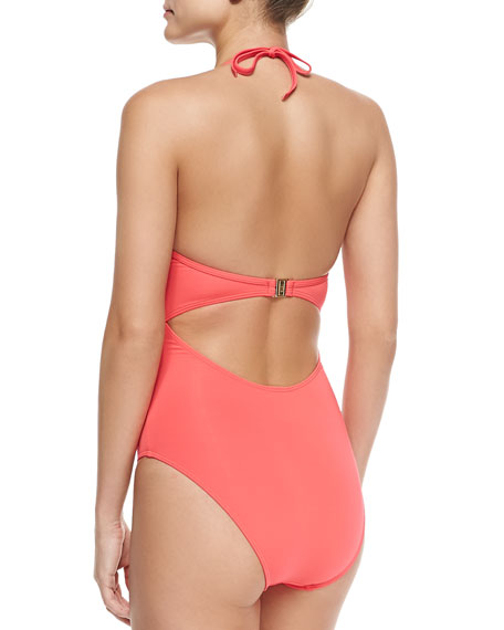 Plunging Halter-Neck One-Piece Swimsuit, Lava