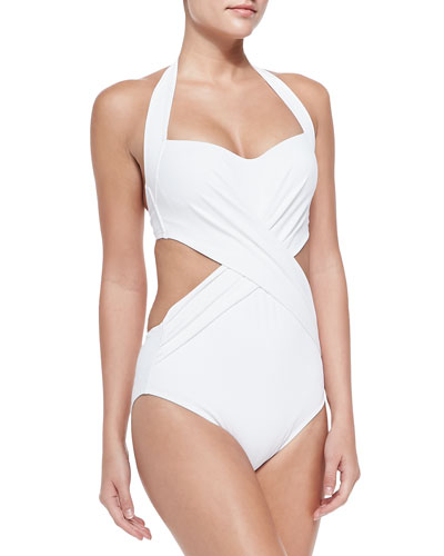 Cross-Front Cutout One-Piece Swimsuit