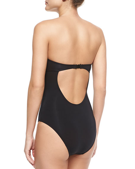 Contrast Plunging V One-Piece Swimsuit, Black/White