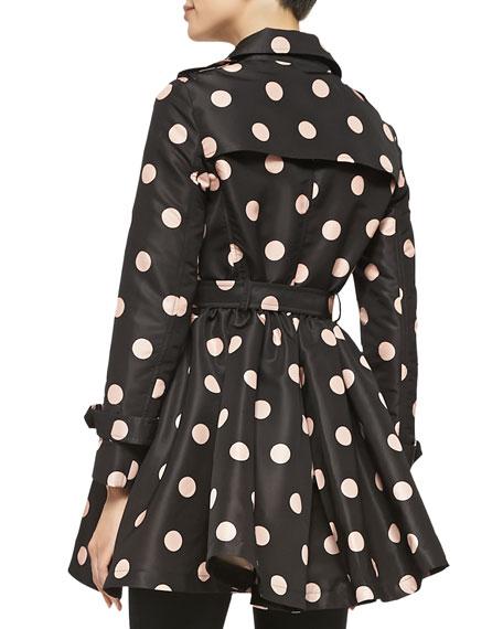 Polka-Dot Belted Trench Coat