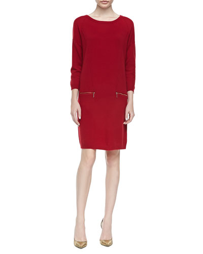 Neiman Marcus Zip-Pocket Cashmere Dress