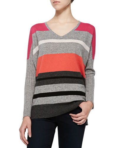 Neiman Marcus Striped V-Neck Cashmere Sweater