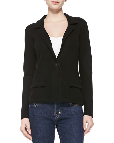 Neiman Marcus One-Button Cashmere Blazer, Black