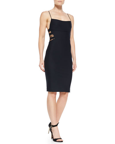 Noam Hanoch Lita Spaghetti-Strap Sheath Dress with Back Lace Insets