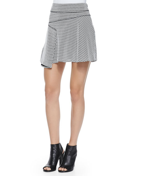 Derek Lam 10 Crosby Printed Flared Skirt W/