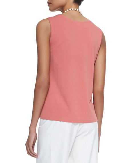 Stretch Silk Jersey Tank, Coral
