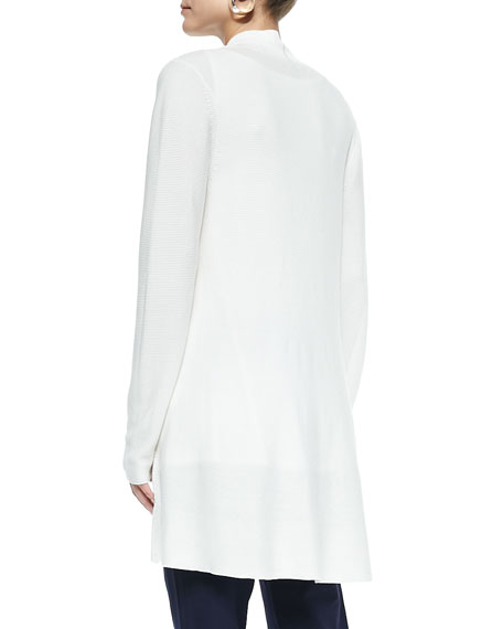 Long Knit High-Low Cardigan, White, Women's