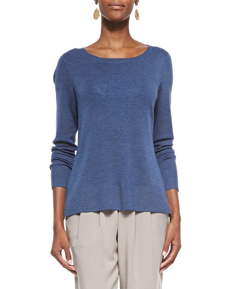 Eileen Fisher Long-Sleeve Ultrafine Merino Top, Denim