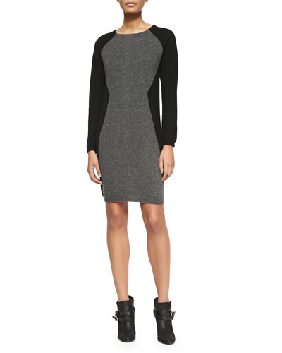Neiman Marcus Colorblock Cashmere Long-Sleeve Dress