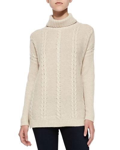 Neiman Marcus Cable-Knit Cashmere Turtlenck, Soft Beige