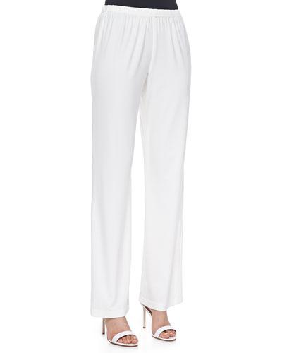 Stretch-Knit Straight-Leg Pants, White, Women's