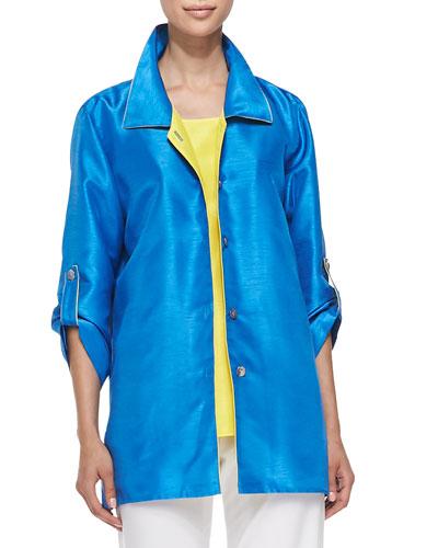 Colorblock Shantung Tab Shirt, Petite
