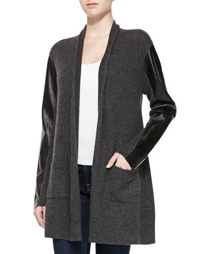 Neiman Marcus Leather-Sleeve Cashmere Cardigan