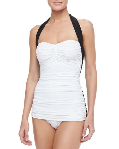 Norma Kamali Bill Mio Combo One-Piece Swimsuit, Black/White