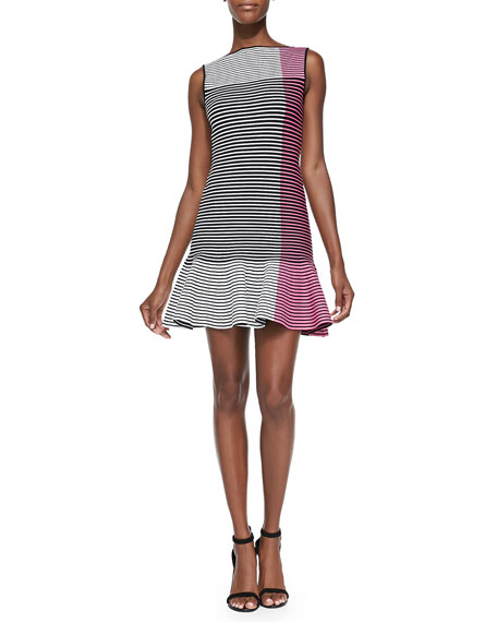 Striped Knit Fit-and-Flare Dress