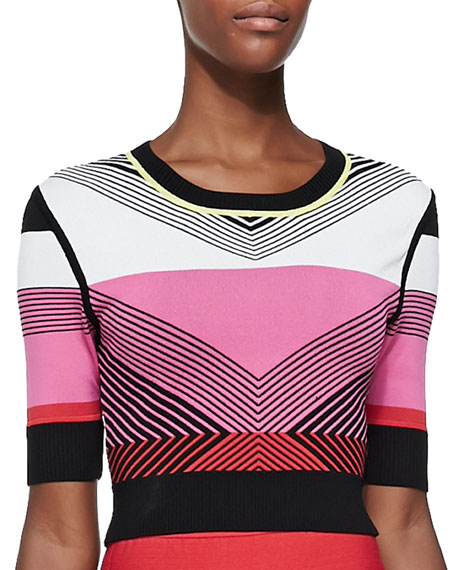 Ohne Titel Chevron-Pattern Knit Crop Top