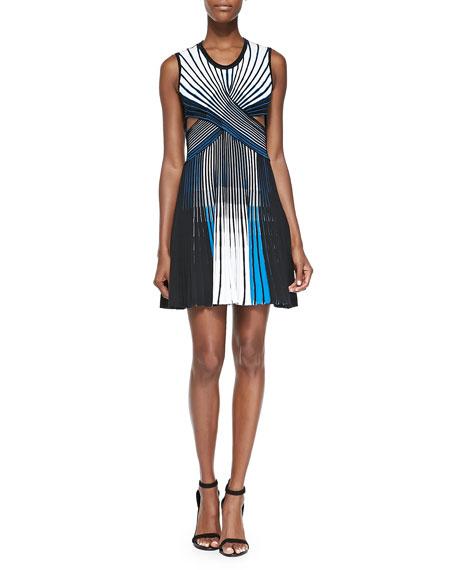 striped-pleated-cutout-dress by ohne-titel