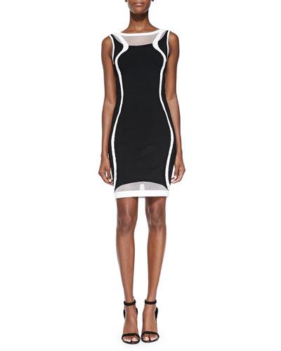 Two-Tone Contour-Pattern Knit Sheath Dress