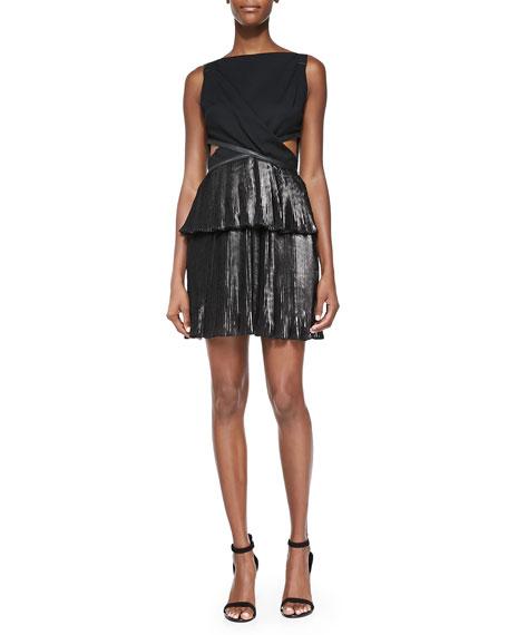 Ohne Titel Foiled Pleated Combo Cutout Dress