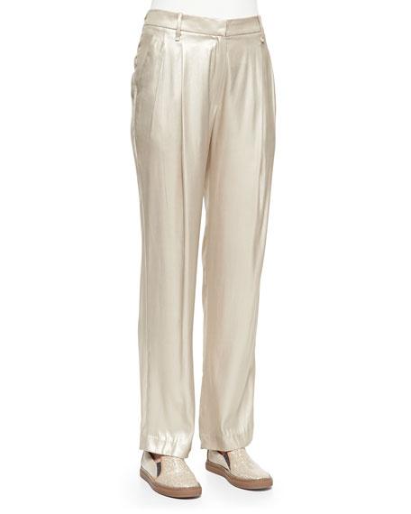 Brunello Cucinelli Metallic Pleated Wide-Leg Pants, Champagne