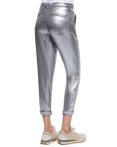 Silk Lamé Roll-Cuffed Pants