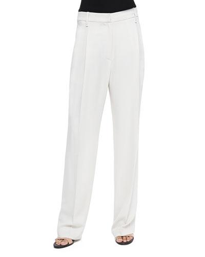 Wide-Leg Pleated Crepe Pants