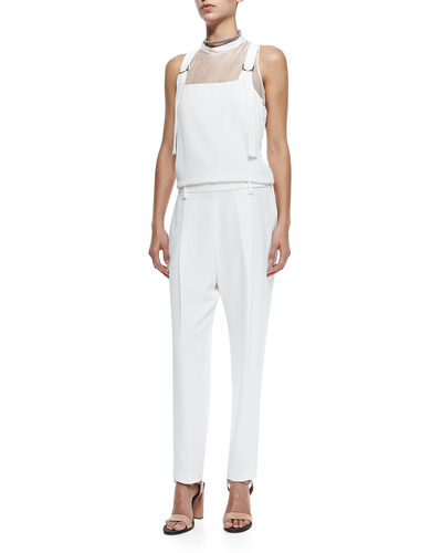Sleeveless Silk Overalls Jumpsuit