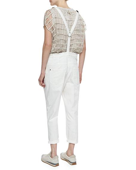 Brunello Cucinelli Pleat-Front Denim Overalls, Off White