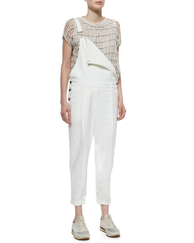 Pleat-Front Denim Overalls, Off White