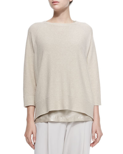 Cashmere 3/4-Sleeve Reversible Sweater