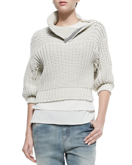Shoulder Zip Sweater 90