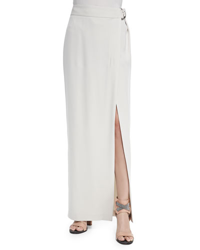 Silk Crepe Maxi Skirt with Attached Belt