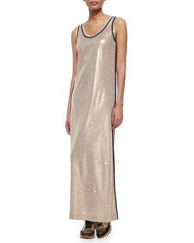 Metallic Linen Long Tank Dress